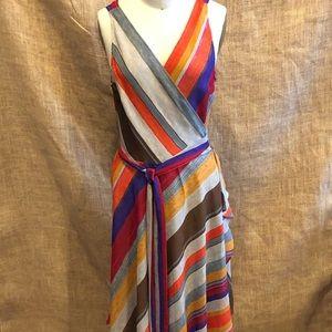 Lauren stripe Wrap Dress Size 8